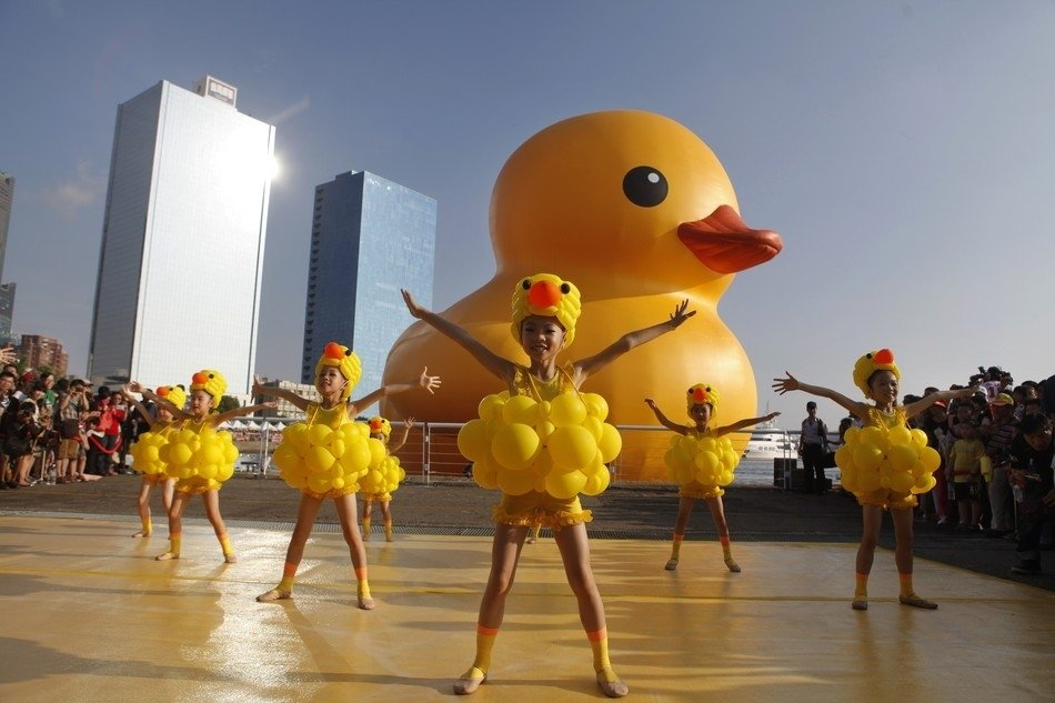 The duck came in with a big boom especially with these Asian dancers!