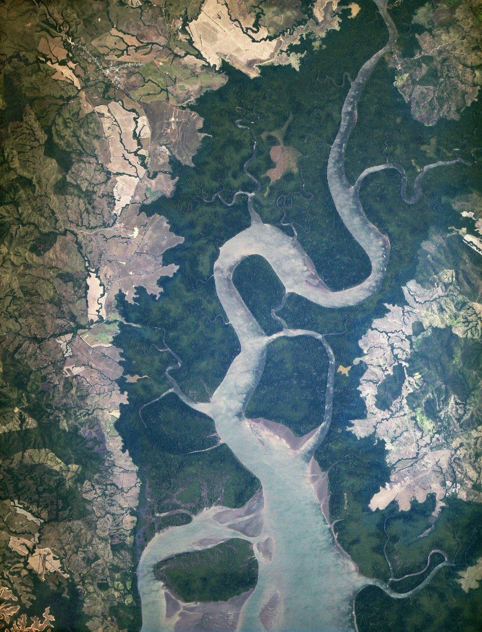 Rio San Pablo in Veraguas, Panama, as it empties into the Gulf of Montijo.