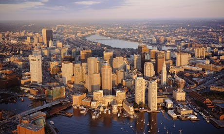 Boston harbour and skyline