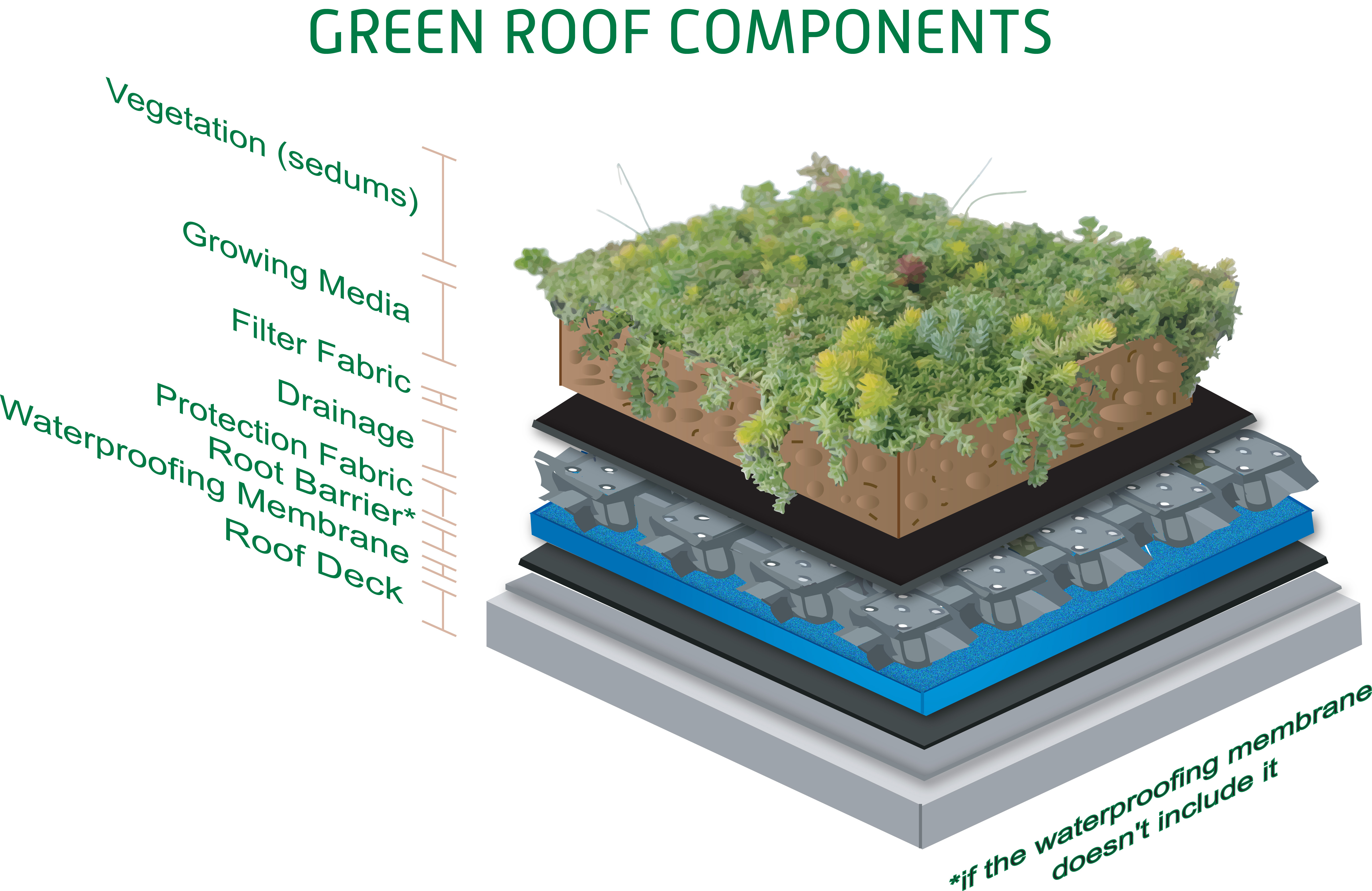 Green Roof Layersv2  Green roofs or rooftop gardens. Rooftop Gardens the Green Roof