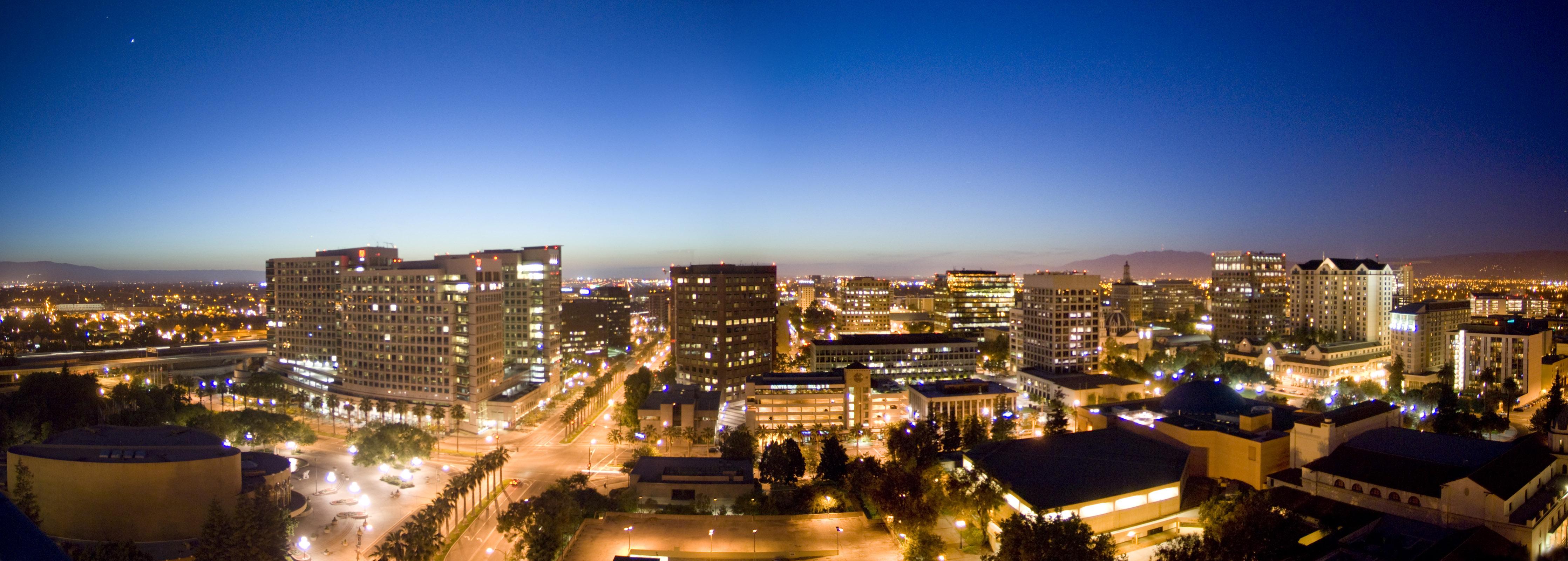 Evening over downtown San Jose, California
