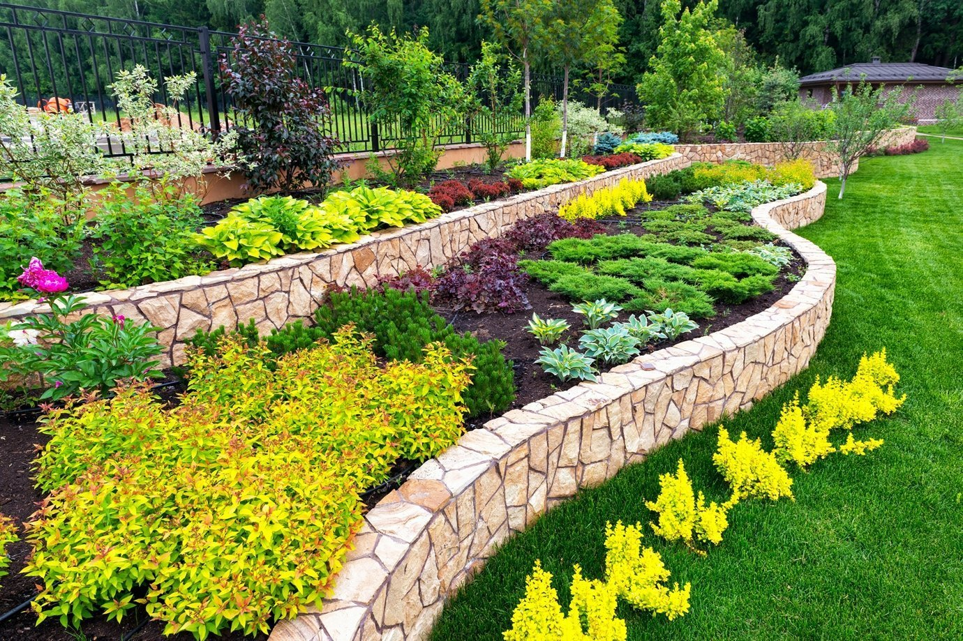 A garden with a stone wall Description automatically generated with low confidence