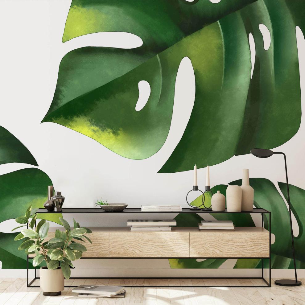 tropical-green-leaves-wallpaper-mural